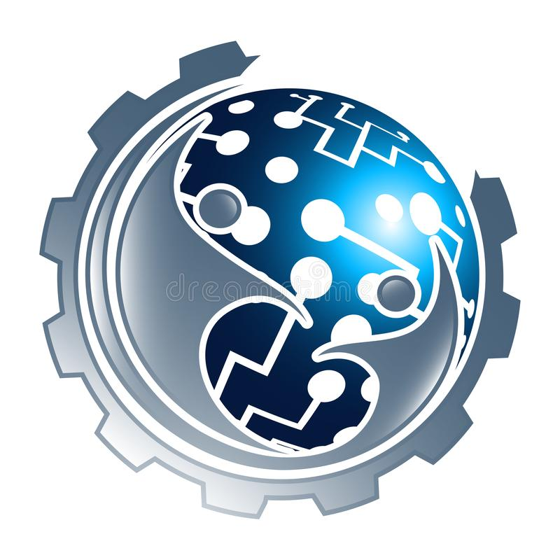 Ingranaggio della sfera di tecnologia digitale con progettazione di massima della gente Vettore grafico dell'elemento del modello royalty illustrazione gratis