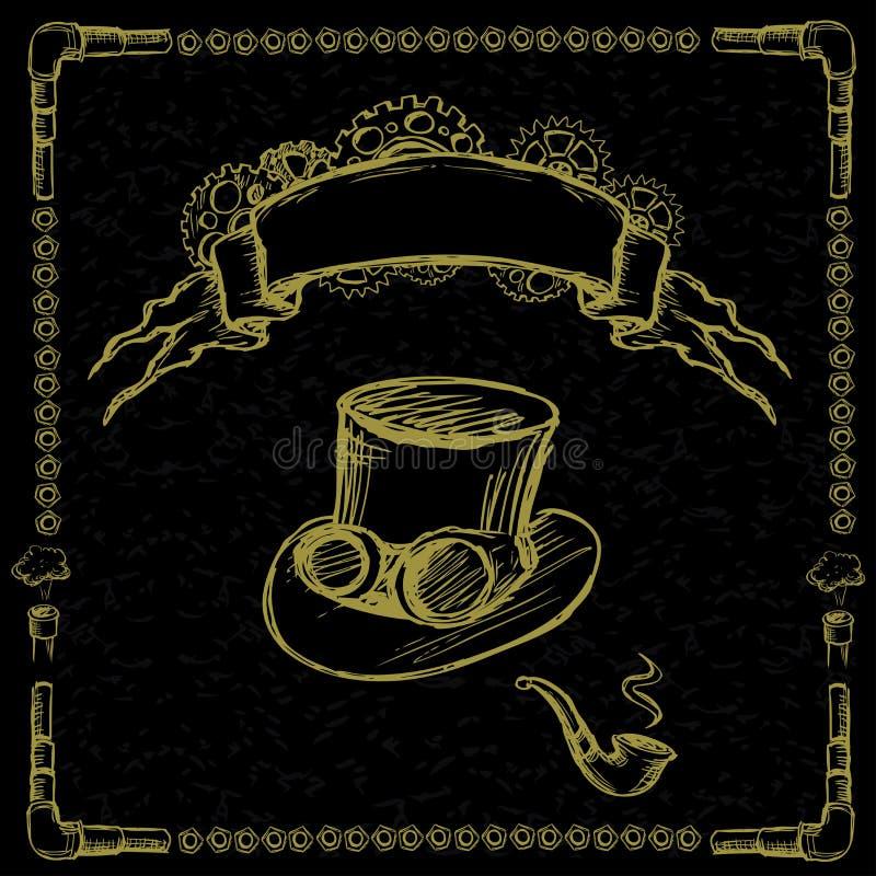 Ingranaggio di Steampunk, tubo, cappello illustrazione vettoriale