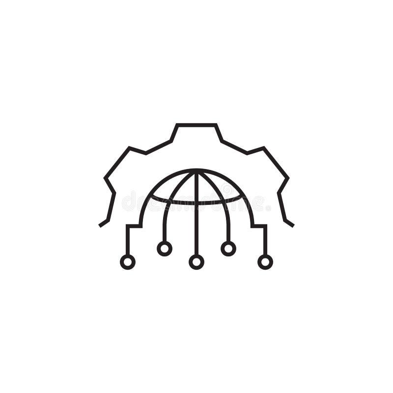 Ingranaggio, globo, mettente icona I segni e l'icona di simboli possono essere usati per il web, logo, app mobile, UI, UX royalty illustrazione gratis