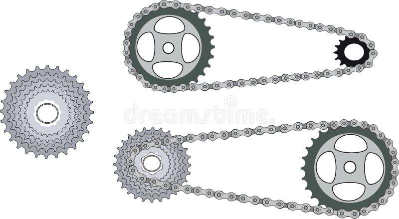 Ingranaggio per la catena della bicicletta royalty illustrazione gratis