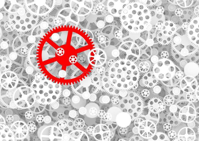 Ingranaggio rosso fra gli ingranaggi bianchi illustrazione di stock