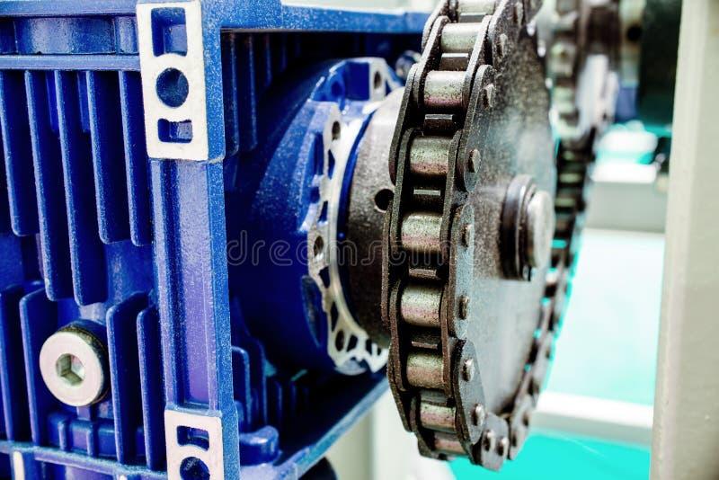 Ingranaggio a vite della ruota di ingranaggio Trasmissione a catena meccanica fotografie stock
