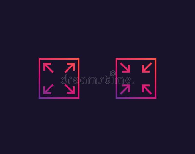 Ingrandica, riduca le icone illustrazione di stock