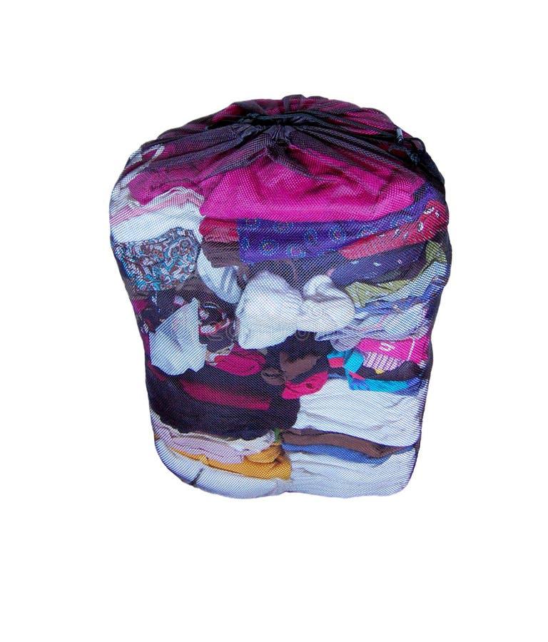 Ingrani il sacchetto della lavanderia fotografia stock
