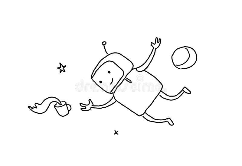 Ingravidez del carácter del bosquejo en espacio exterior El robot perdió una taza de gravedad cero del café página de 404 errores stock de ilustración