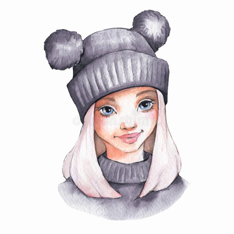 Ingray varm hatt för gullig tecknad filmflicka vektor illustrationer