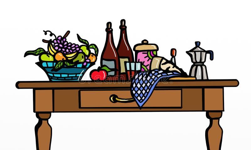 Ingrediënten en koffiezetapparaat stock illustratie