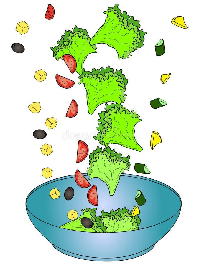 Ingrediënten Griekse salade of Horiatiki-salade Juiste voeding Voedselvector vector illustratie