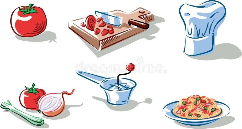 Ingrediënten om een plaat van spaghetti voor te bereiden stock illustratie