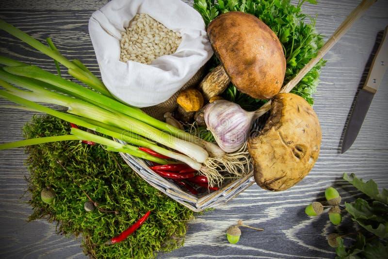 Ingrediënten van Italiaanse risotto royalty-vrije stock foto's