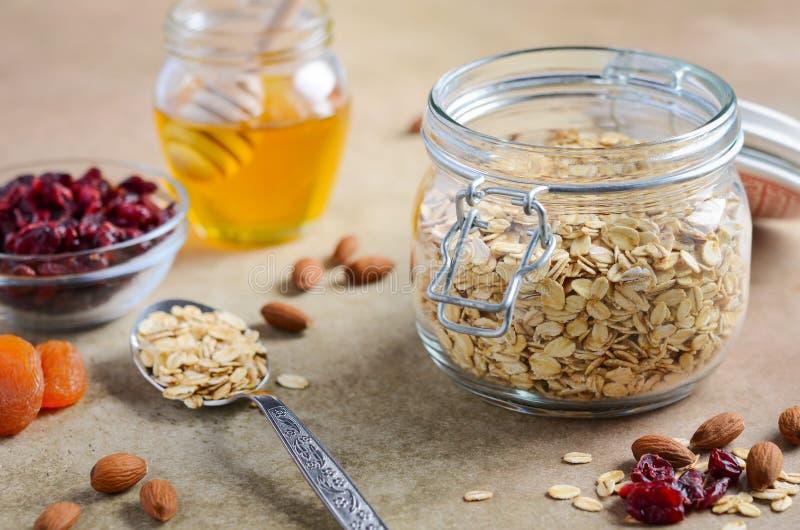 Ingrediënten voor eigengemaakte havermeelgranola Havervlokken, honing, amandelnoten, droge Amerikaanse veenbessen en abrikozen Ge royalty-vrije stock afbeelding