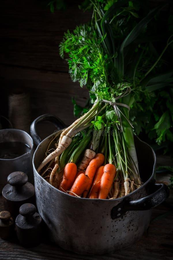 Ingrediënten voor eigengemaakte veganistsoep met verse groenten royalty-vrije stock foto's