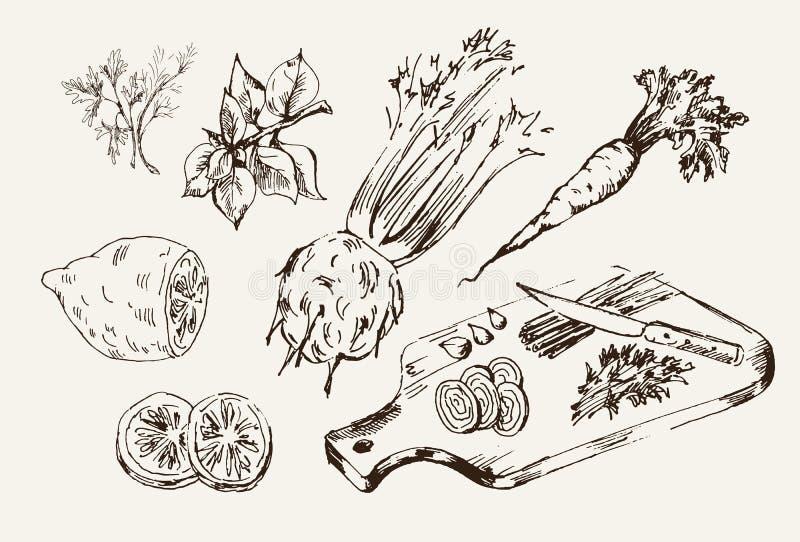 Ingrediënten voor het koken vector illustratie
