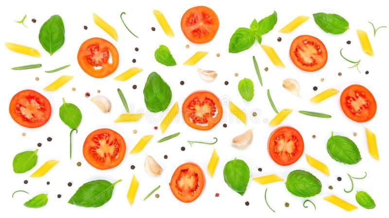 Ingrediënten voor het koken van deegwaren stock illustratie