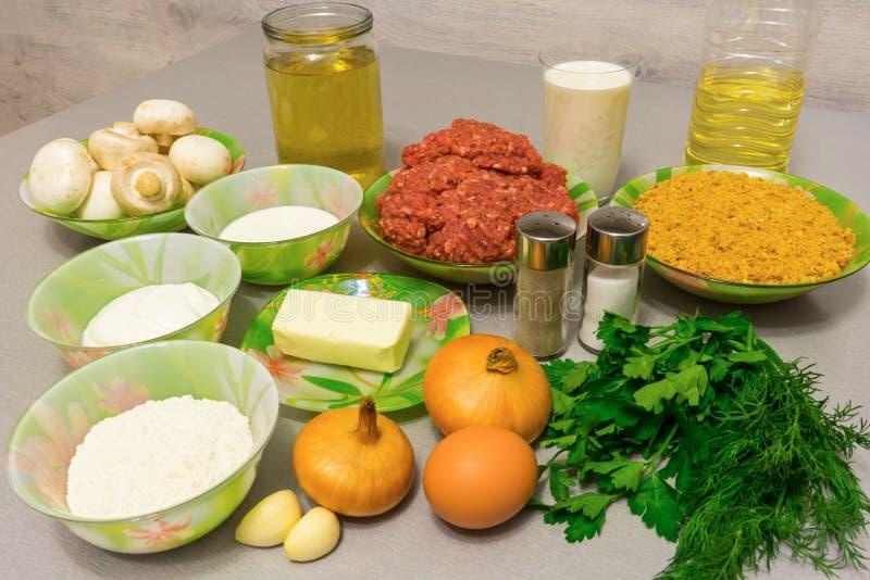 Ingrediënten voor het koken van vleesballetjes met Stroganoffjus: fijngehakt royalty-vrije stock fotografie