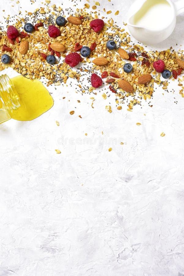 Ingrediënten voor het maken van gezonde voeding breakfastTop mening stock fotografie