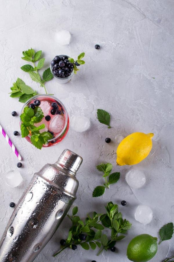 Ingrediënten voor het maken van limonade, Mojito-Cocktails of andere dranken met bosbes op een grijze achtergrond royalty-vrije stock fotografie