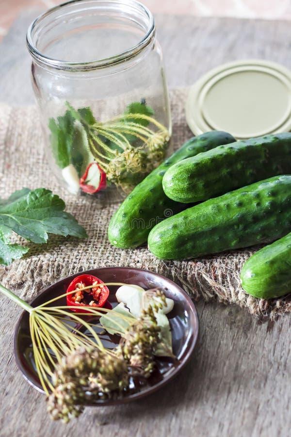Ingrediënten voor het marineren van komkommers royalty-vrije stock fotografie