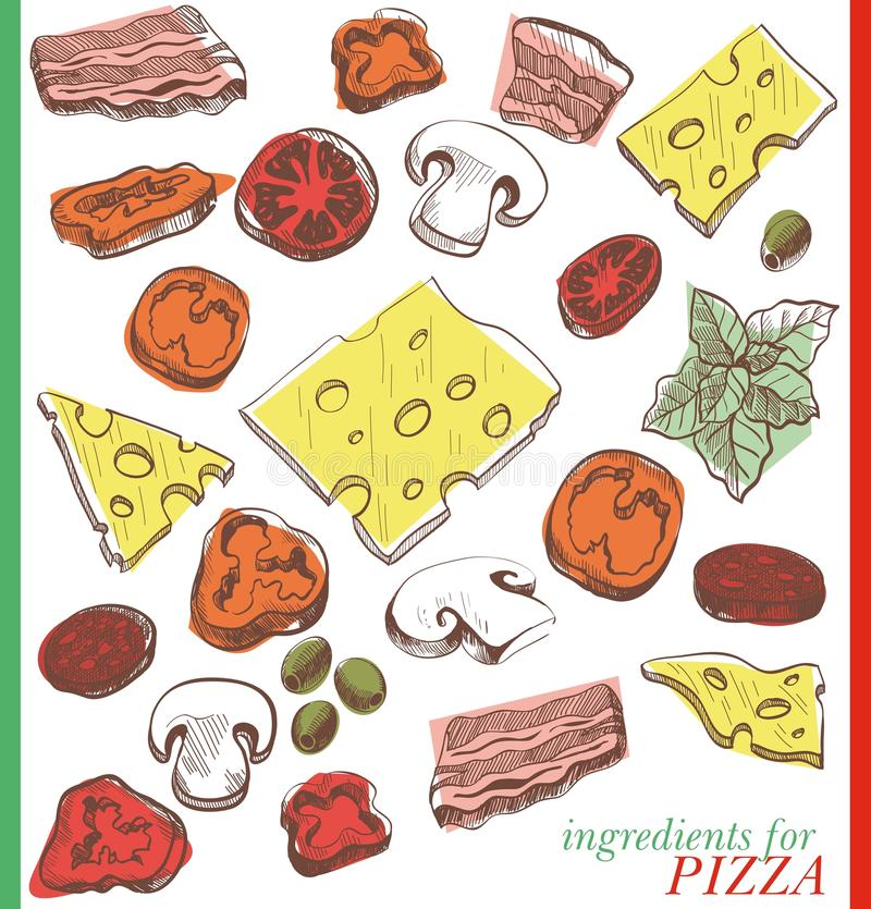 Ingrediënten voor pizza vector illustratie