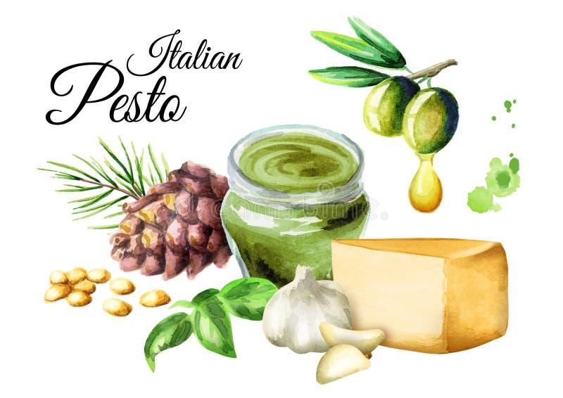Ingrediënten voor saus Pesto, populaire Italiaanse saus Geïsoleerdj op witte achtergrond De illustratie van de waterverf stock illustratie