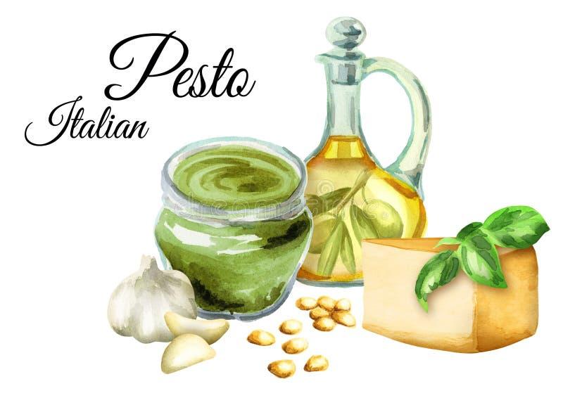 Ingrediënten voor saus Pesto, populaire Italiaanse saus Geïsoleerdj op witte achtergrond De illustratie van de waterverf vector illustratie