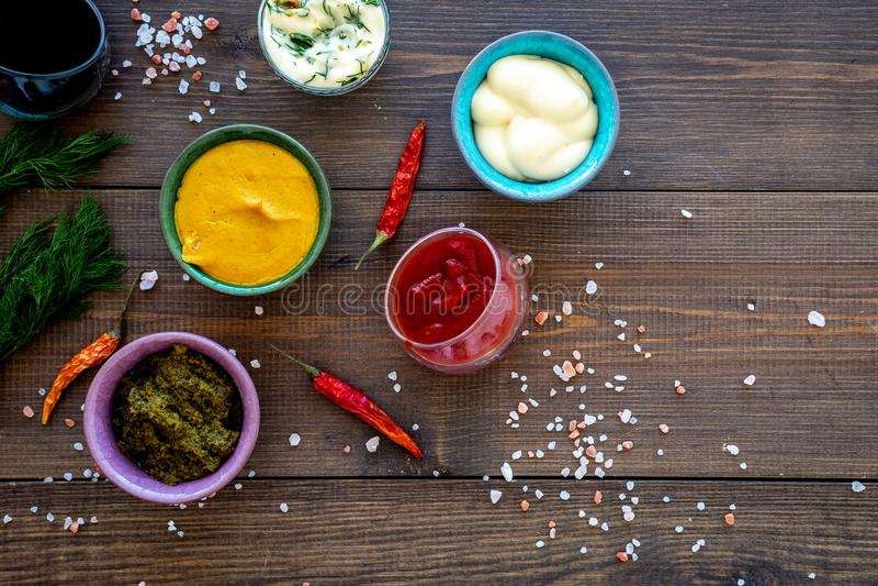 Ingrediënten voor schotels Onderdompeling sause, het kleden zich Ketchup, mayonaise, mosterd, sojasaus, barbecuesaus, pesto, most royalty-vrije stock fotografie