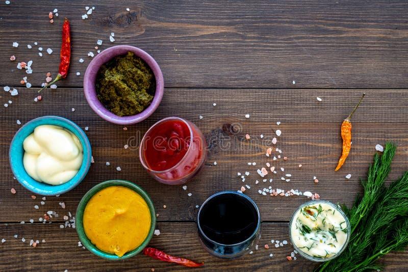 Ingrediënten voor schotels Onderdompeling sause, het kleden zich Ketchup, mayonaise, mosterd, sojasaus, barbecuesaus, pesto, most stock afbeelding