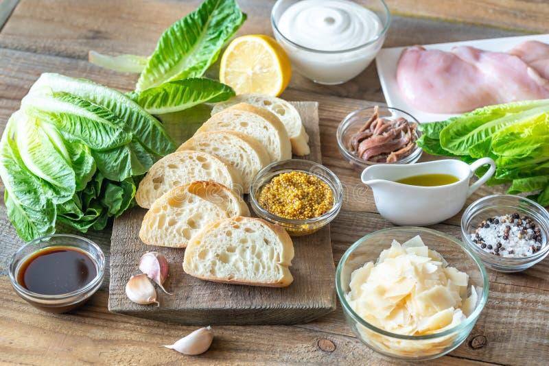 Ingredi?nten voor Caesar-salade stock afbeelding