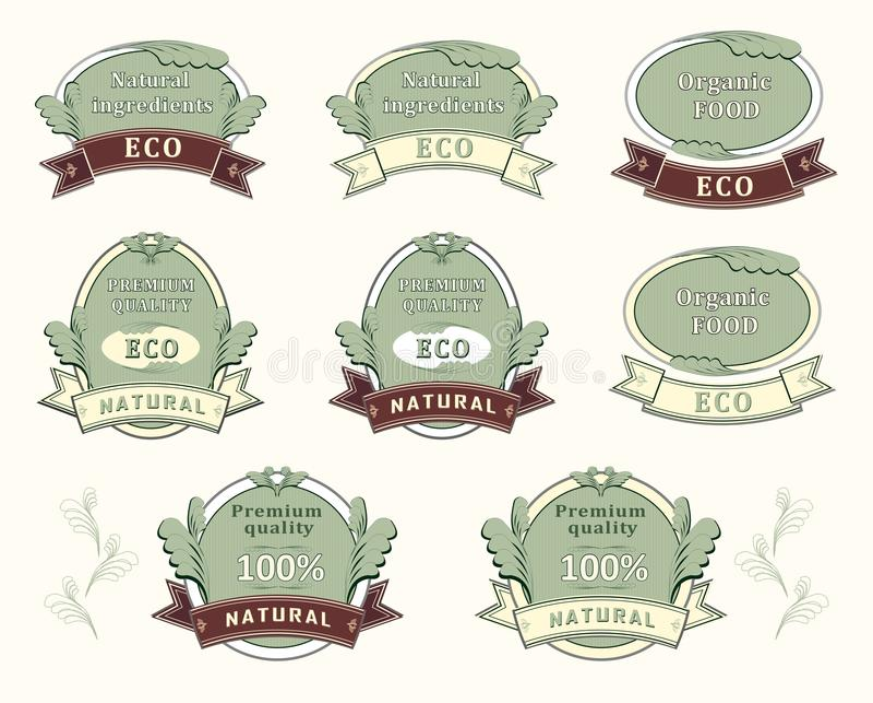 ingrediensen märker den naturliga kvalitetsseten stock illustrationer