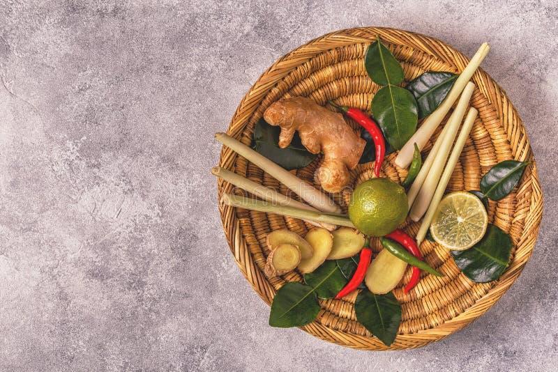 Ingredienser av thailändsk kryddig mat royaltyfria foton