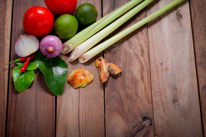 Ingredienser av thailändsk kryddig mat, tom yum royaltyfri foto