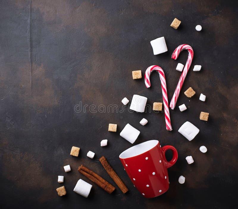 Ingredienser för att laga mat drinken för varm choklad eller kakao royaltyfri fotografi