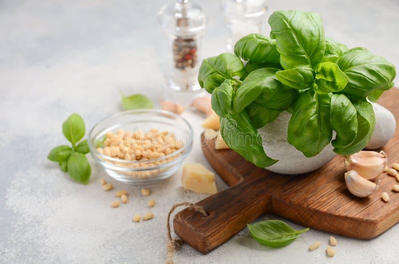 Ingredienser för framställning av grön pestosås sund italienare för mat royaltyfria bilder