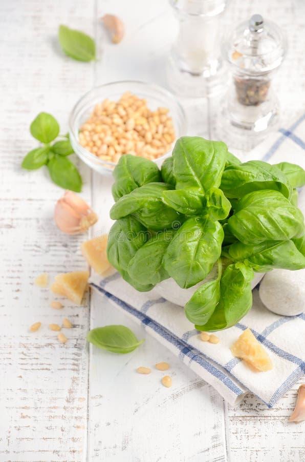 Ingredienser för framställning av grön pestosås sund italienare för mat royaltyfri foto