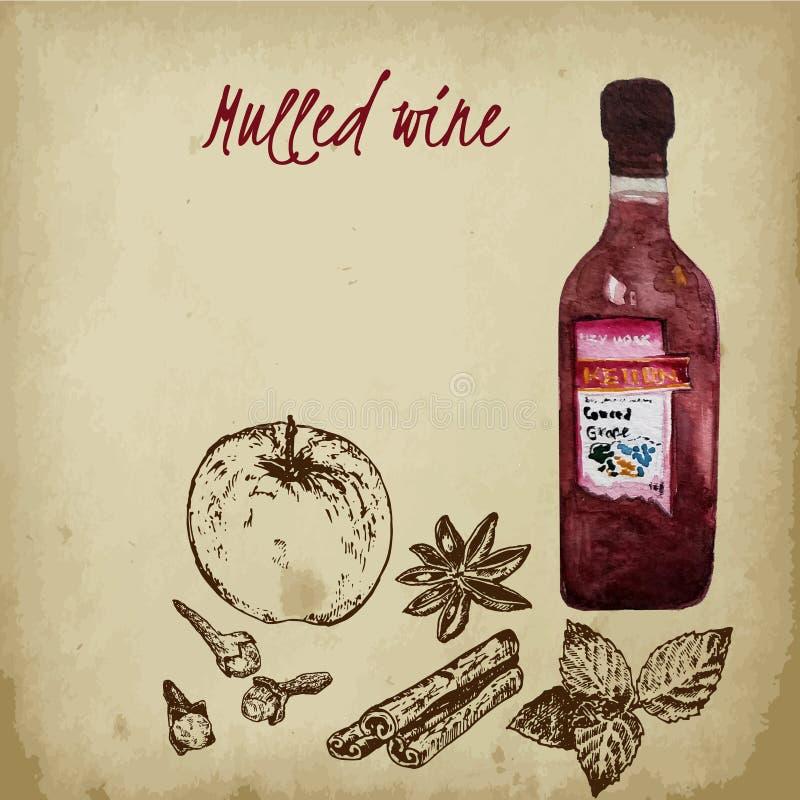 Ingredienser för funderat vin skissar vektorillustrationen på gammal pappers- bakgrund Kanelbrun pinne, kryddnejlika, äpple med m vektor illustrationer