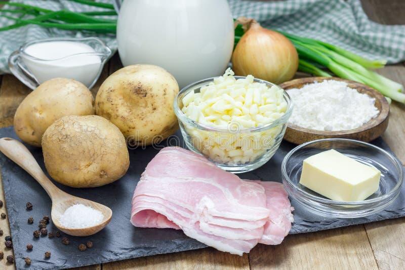 Ingredienser för krämig potatissoppa royaltyfri foto