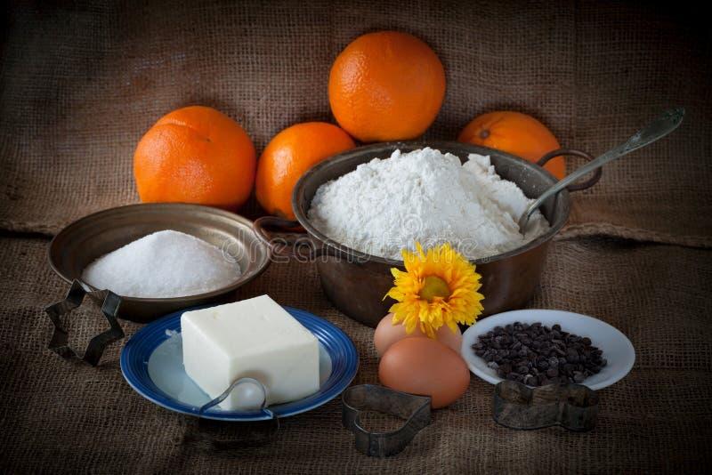 Ingredienser för orange kakor royaltyfri fotografi