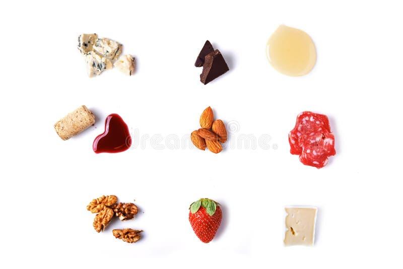 Ingredienser för ostplatta arkivbilder