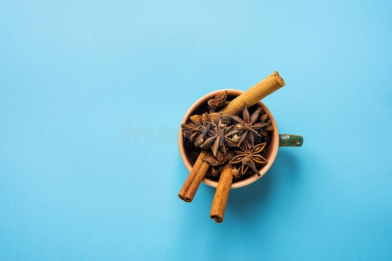 Ingredienser för stekhet Latte för krydda för pumpa för te för äppeljuice för bakelse för julkakakaka eller för vin för danandevi arkivfoton