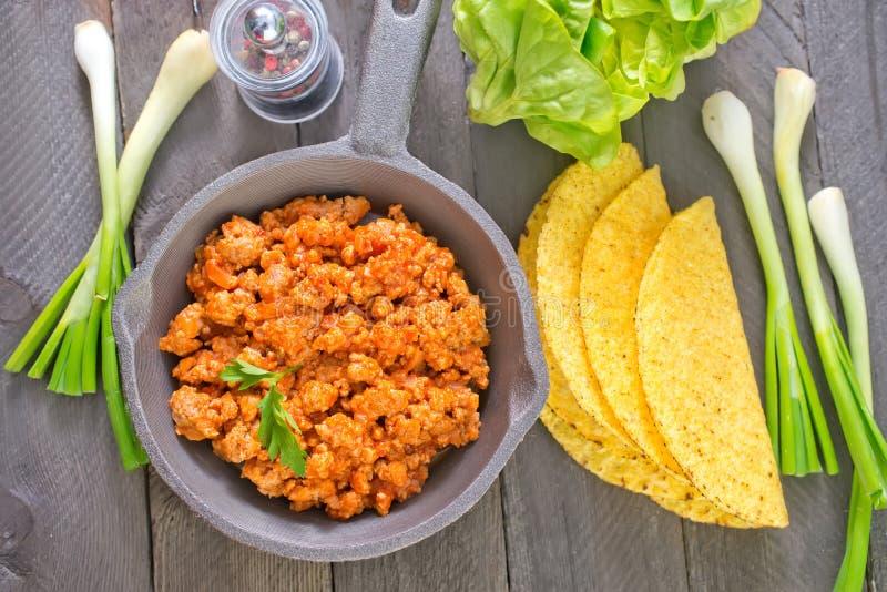 Ingredienser för taco royaltyfria foton