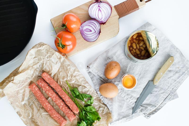 Ingredienser f?r en sund organisk frukost arkivfoton