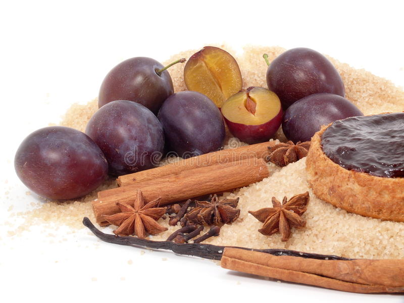 ingredienser mosar plommonet arkivbild