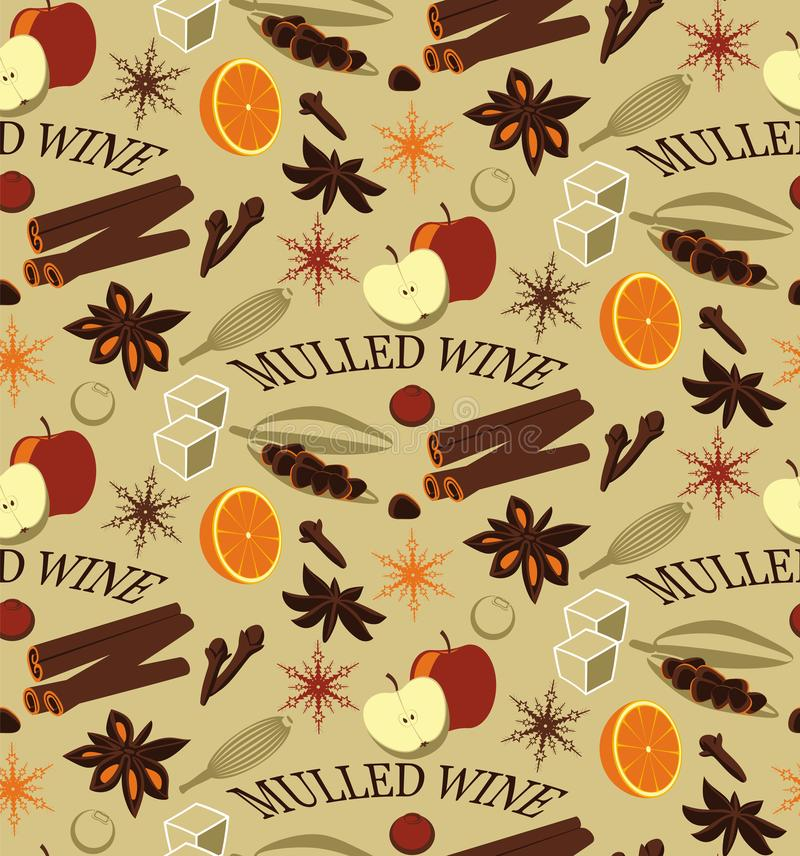 ingredienser mulled wine royaltyfri illustrationer