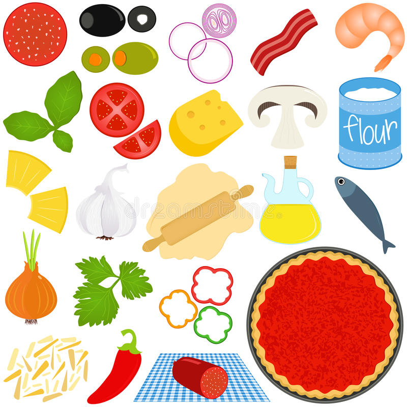 Ingredienser som gör Pizza vektor illustrationer