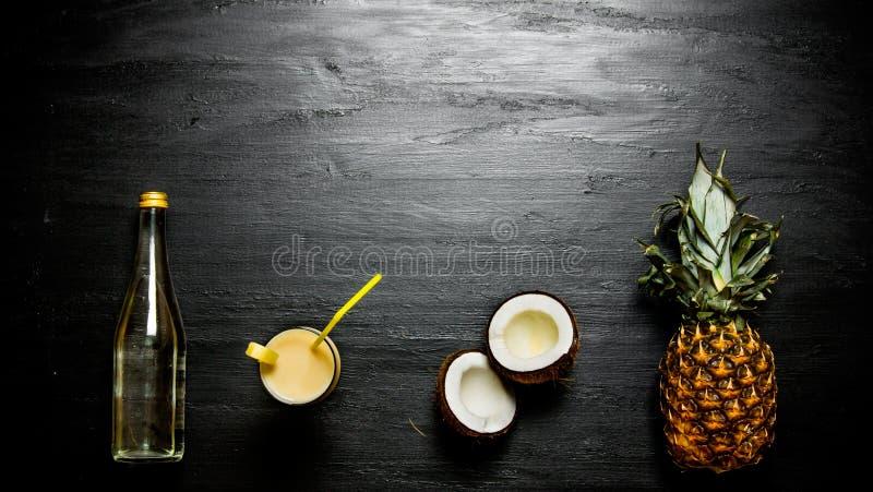 Ingredienserna för coctailen - ananas, kokosnöt och en flaska av rom Fritt avstånd för text fotografering för bildbyråer