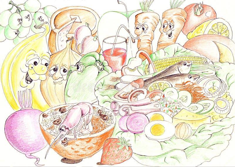 ingredienssallad stock illustrationer