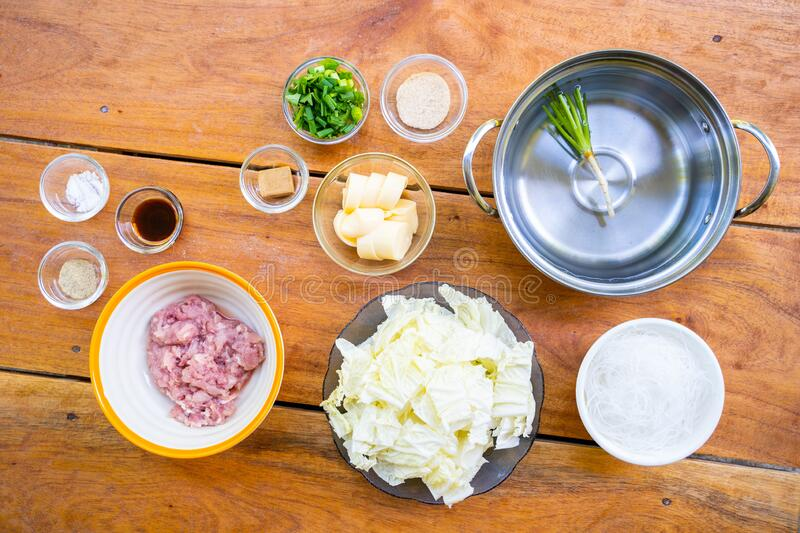 Ingredient for cooking minced pork and egg tofu soup. Thai food stock photos