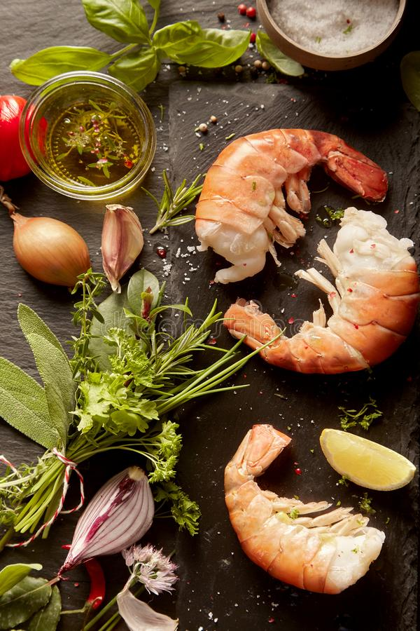 Ingredient for gourmet seafood appetizer royalty free stock photography