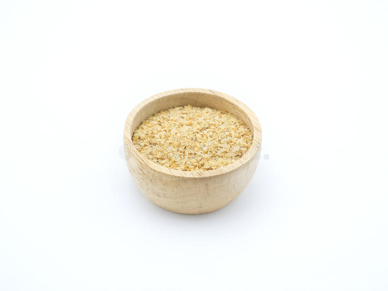 Ingredient grain, wheat germ in wooden bowl on white background. Isolated Ingredient grain, wheat germ in wooden bowl on white background stock photography