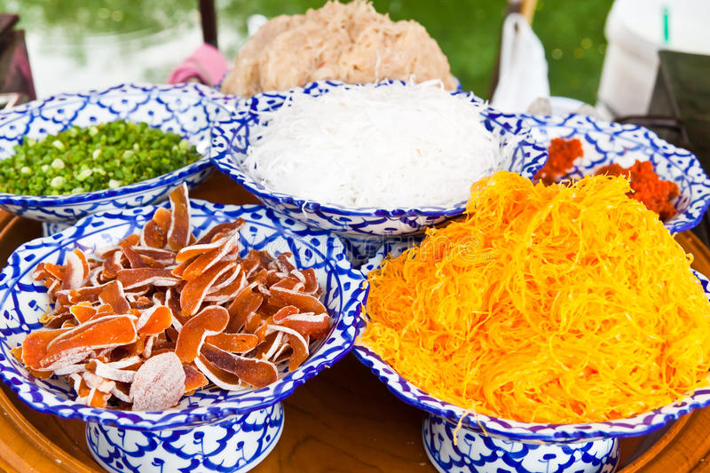 Ingredient of native Thai style of crispy crepes royalty free stock images